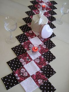 Pink and Brown Valentine's Day Table Runner. $30.00, via Etsy.