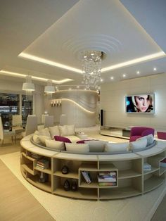 Italian living room interior design with unique round sofa and bookcase with modern ceiling Italian Living Room, Sweet Home, Plafond Design, Round Sofa, Round Sectional, Bunk Bed Designs, Dream Rooms, Design Case, Luxury Living