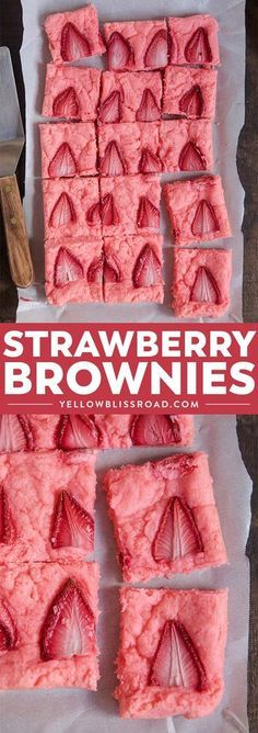 Brownies Strawberry Brownies are a super simple springtime dessert that comes together easily with just a few pantry ingredients and some fresh strawberries. via Brownies are a super simple springtime dessert that comes together Brownie Desserts, Brownie Recipes, Just Desserts, Desserts For Summer, Healthy Desserts, Baking Brownies, Finger Desserts, Cake Brownies, Brownie Cake