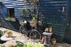 Mijn oude fiets in onze tuin, eigen foto