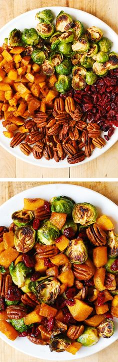 Thanksgiving Side Dish: Roasted Brussels Sprouts, Cinnamon Butternut Squash, Pecans, and Cranberries (and maple syrup). Would be a great thanksgiving side dish! Veggie Dishes, Veggie Recipes, Food Dishes, Vegetarian Recipes, Cooking Recipes, Healthy Recipes, Sweet Potato Recipes, Thanksgiving Side Dishes, Thanksgiving Recipes