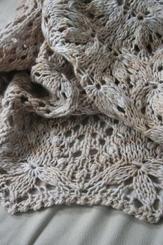 Echo Flower Shawl by Jenny Johnson Johnen. malabrigo Worsted, Simple Taupe colorway.