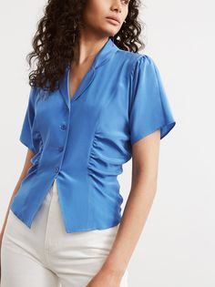 d5e955364effd Valeria Blue Silk Ruched Blouse by KITRI Studio