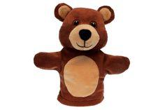 "ANIMAL HAND PUPPET: Bear - Plush, 8""."