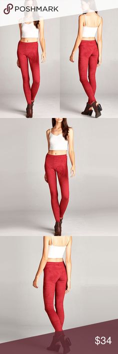 """Skinny, Cherry / Red Suede-Like Pants ❤️ BUNDLES  ❤️ DISCOUNTS  ❌ NO TRADES  ❌ NO Low balling!   • NWT •  * MEASUREMENTS: • SIZE: Small - Outseam: 39"""" Approx - Inseam: 29.75"""" Approx - Rise: 9.5"""" Approx • • SIZE: Medium - Outseam: 39.5"""" Approx - Inseam: 29.75"""" Approx - Rise: 9.75"""" Approx • • SIZE: Large - Outseam: 41"""" Approx - Inseam: 30.5"""" Approx - Rise: 10"""" Approx • *MATERIAL; - 90% Polyester - 20% Spandex  • MADE IN USA • Pants Leggings"""