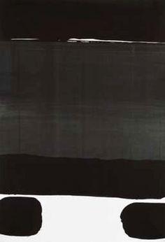 Pierre Soulages  , ohne Titel (A 32)  , Gouache auf Papier auf Leinwand ,  1977  , 110 x 75 cm