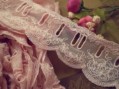 """2.28"""" Wide Honey Pink Flower Lace Trim with Your Ribbon Go Through"""