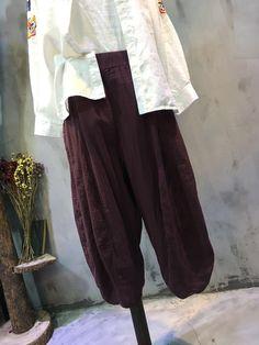 Elastic Waist Loose Cotton Linen Pants Cheap Harem Pants  #pants #trousers #wide-legs #casual #leisure #wholesale #cheap #harem #linen #flax