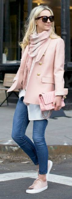 Pastel shades + Blair Eadie + ultra feminine + gorgeous baby pink blazer + scarf + matching bag + sneakers + simple denim jeans Blazer: J. Crew, Jeans/Top: Nordstrom, Scarf: Gucci, Sneakers: Axel