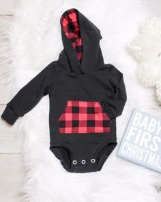Cute Baby Boy Clothes, Hoodie Onesie: Buffalo Plaid https://presentbaby.com