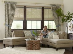 Natural Woven Shades are crafted from bamboo reed, exotic woods, sisel, grass and jute material. They add natural color, texture and dimension to your windows. Windows, Modern Window Treatments, Window Treatments, Window Styles, Budget Blinds, Custom Blinds, Woven Shades, Modern, Home Decor