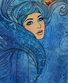 Illustration of aquarius astrological sign as a beautiful girl by Varvara Gorbash