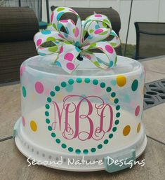 Personalized Monogram Cake Carrier | Monogram Cake Server | Monogram Cake Taker | Monogram Cake Container | Monogram Cake Plate & Personalized Cake Carrier by TheJemZyBoutique on Etsy. $24.00 USD ...