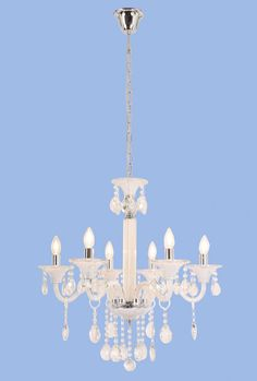 Polished Chrome and White Glass Chandelier with Crystals - 6 x SES Width: Height: Chain: Ceiling Cup: