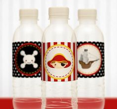 PRINTABLE Water Bottle Label DIY Red Pirate Birthday by leelaaloo