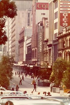 """Bourke Street """"Mall"""" sth side looking east from outside Myer month after the street was first closed to traffic in 1978 - City Collection Melbourne Architecture, Melbourne Art, Melbourne Victoria, Victoria Australia, Street Mall, Street View, Old Pictures, Old Photos, Terra Australis"""