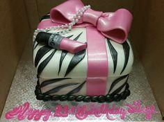 Calumet Bakery Zebra Print Gift Box with MAC Lipstick Calumet Bakery, Mac Lipstick, Fondant Cakes, Zebra Print, Birthday Cakes, Box, Gifts, Snare Drum, Presents