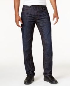 Sean John Men's Bedford Slim-Straight Fit, Only at Macy's Flap-Pocket Jeans, Only at Macy's  - Brown