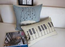 45 * 45 cm abstracta notas musicales de piano keys algodón paraguas liene cojín del sofá a través de almohada decoración del hogar(China (Mainland))