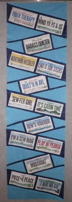 I love the License Plates that are offered with the Row by Row Kits that quilt stores in the US have during the summer. It is a fantastic concept and License Plate Designs, License Plates, Quilting Projects, Quilting Designs, Quilting Tips, Sewing Projects, Row By Row 2016, Row By Row Experience, Beginner Quilt Patterns