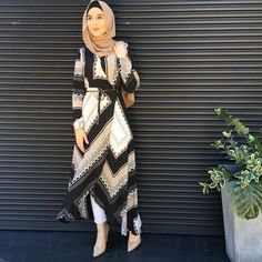 Geometrical pattern long belted dress- check out:Esma <3