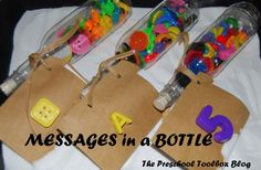 Messages in a Bottle - Alphabet, Numbers, Colors, and Shapes Discovery Bottles for Summer Learning and Play! - free printable recording sheets for kids!