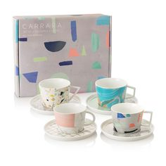 Buy the Carrara Set of Four Tea Cups & Saucers at Oliver Bonas. Enjoy free UK standard delivery for orders over £50.
