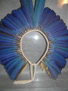 Lot:Kayapo Brazil Indian Blue Macaw Feather Headdress, Lot Number:69, Starting Bid:$200, Auctioneer:E.M. Wallace Auctions & Appraisals, Auction:Kayapo Brazil Indian Blue Macaw Feather Headdress, Date:08:00 AM PT - Dec 8th, 2013
