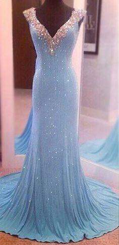 Largos Pretty V-Neck Prom Dresses,Chiffon Prom Dresses,Sequins Prom Dresses,Backless Prom Dresses,Long Prom Dresses