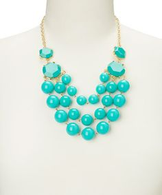 Turquoise Sphere Bubble Bib Necklace by Polka Dotsy #zulily #zulilyfinds