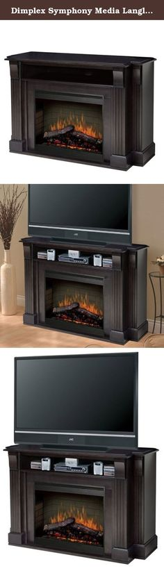 """Dimplex Symphony Media Langley TV Stand with Electric Fireplace in Espresso. The Langley Fireplace is an all-in-one media console that provides storage for A,V components, integrated cord management, and a platform for up to a 52""""Plasma,LCD TVs. Clean lines and an espresso finish allow a seamless blend between home electronics and home d?cor. Features: 26"""" Medium size self-trimming electric firebox Patented, life-like flame effect Inner glow logs molded from wood logs for incredible…"""