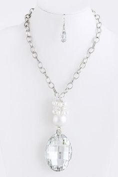 Large Crystal Pendant Silver Chunky Statement Long Necklace Earring $125 | eBay