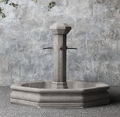 RH's La Vielle Fountain:Inspired by the fountains that once anchored village life in Provence, our artisan-crafted reproduction in lightweight cast stone has the weathered patina of the hand-hewn, original. Stone Fountains, Garden Fountains, Horse Water, Courtyard Landscaping, Pool Fountain, Linen Shop, Traditional Exterior, Medicine Cabinet Mirror, Cast Stone