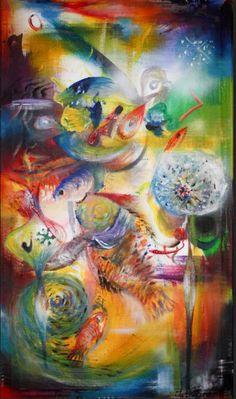 """Aquarium of love"" by Istvan ""21x37"" original www.gallery36.ca"