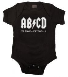 Kiditude - AB/CD Funny Baby Onesie, available in Black, White and Pink $17.95