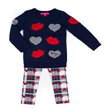 Betsey Johnson Girls 2 Piece Navy Heart and Lip Applique Sweater with Plaid Legging Set - Infant/Toddler