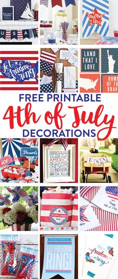 of july birthday party ideas by fawn on diy ❣ printable' Patriotic Crafts, Patriotic Party, July Crafts, 4th Of July Celebration, 4th Of July Party, Fourth Of July, 4th Of July Trivia, Independence Day Wallpaper, July Birthday