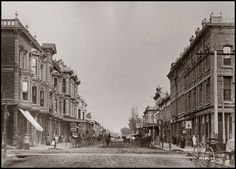 Oakland East from at Broadway, 1870 courtesy Oakland Public Library, history room Store Image, Oakland California, Digital Prints, Broadway, Street View, History, City, Public, Room