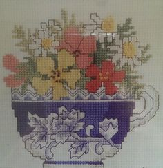 Row of Teacups Counted Cross Stitch Kit Floral Spring Flowers Arrangement 7.5x22 #HometownDesignfortheNeedle