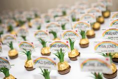 Pineapple escort cards made from Ferrero Rochers. Wanted to add an even more fun Hawaiian twist with the Hawaii license plate cards.