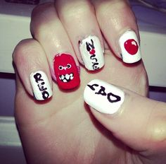 Red Nose Day nails