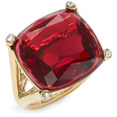 Kate Spade New York Hidden Gems Cushion Cut Ring ($68) ❤ liked on Polyvore featuring jewelry, rings, ruby, gemstone jewelry, cushion cut cocktail ring, gemstone rings, pave jewelry and cushion cut gemstone ring