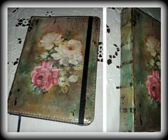 #notebook #vintage #retro #flowers #roses #decoupage #DIY https://www.facebook.com/pages/Dimitras-Retro-Decoupage/532590893485180