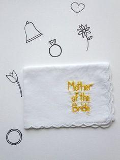 Wedding Mother of the Bride Hand Embroidered Handkerchief by wrenbirdarts