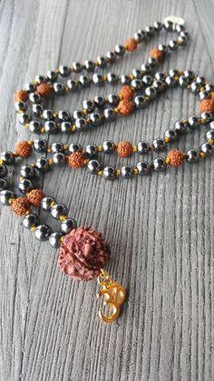 Om Necklace, Japa Mala, Spiritual Jewelry by AkashaMalas on Etsy Om Necklace, Tassel Necklace, Spiritual Jewelry, Brooch, Beads, Gifts, Etsy, Beading, Presents