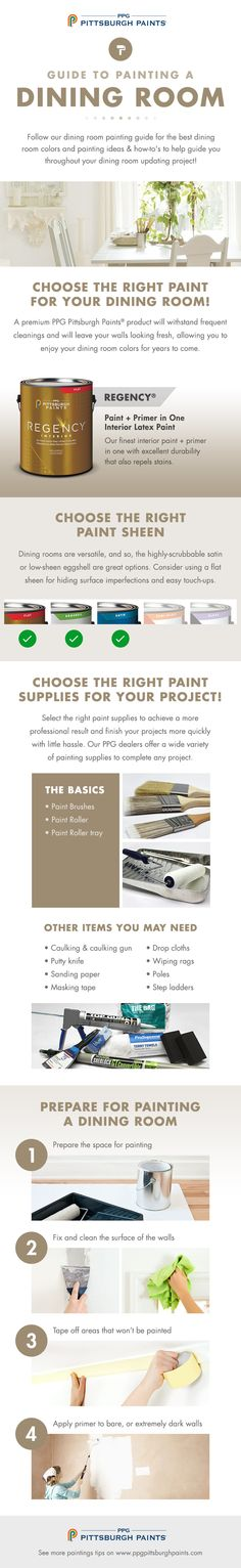 DIY Guide to Painting a Dining Room from PPG Pittsburgh Paints. Need to learn how to paint your dining room? Want to learn how to pick the right dining room colors? Paint your dining room with ease using these step-by-step instructions and dining room paint color tips.