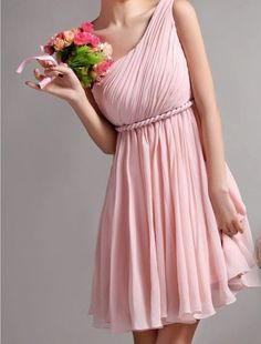 Pastel pink: I guess I'm on a one-shoulder strap kick...I like the chiffon