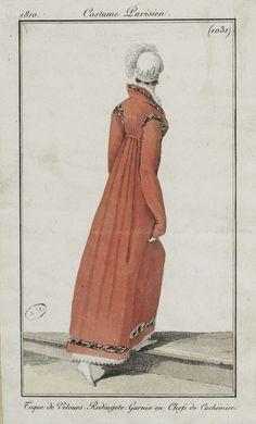 """Costume Parisien, 1810,     From the Bibliothèque des Arts Décoratifs via SceneInThePast flickr.   Plate 1031   """"Toque de Velours. Redingote. Garnie en Chefs de Cachemire."""""""