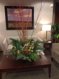 Office Centerpiece with Pines, & Pine Cones & Branches