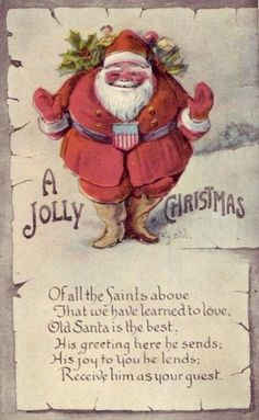 Jolly Stylized Santa - Vintage Christmas Images   Public Domain   Condition Free By Nancy Oram
